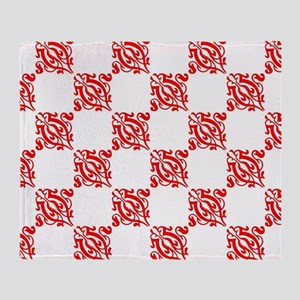 Decorative Red and White Throw Blanket