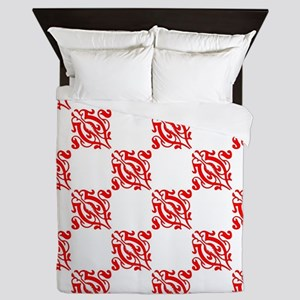 Decorative Red and White Queen Duvet