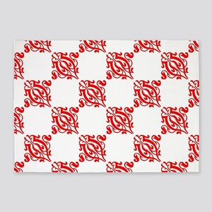 Decorative Red and White 5'x7'Area Rug