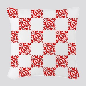 Decorative Red and White Woven Throw Pillow