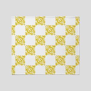 Decorative Gold & White Damask Throw Blanket