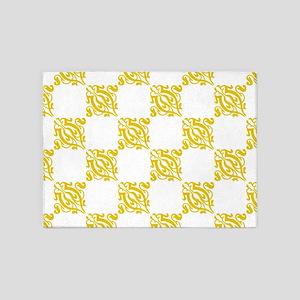 Decorative Gold & White Damask 5'x7'Area Rug