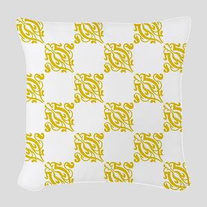 Decorative Gold & White Damask Woven Throw Pillow