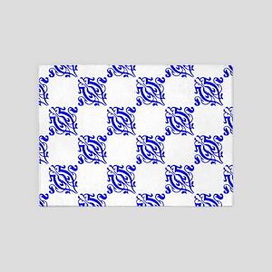 Decorative Blue Damask 5'x7'Area Rug