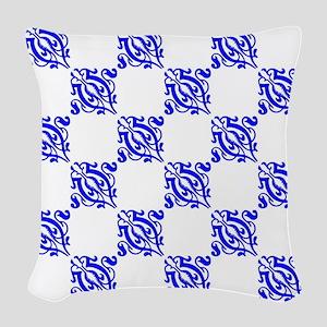 Decorative Blue Damask Woven Throw Pillow