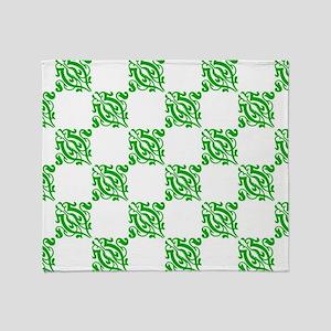 Decorative Green Damask Throw Blanket