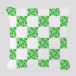 Decorative Green Damask Woven Throw Pillow