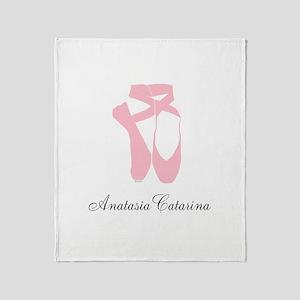 Team Pointe Ballet Pink Personalize Throw Blanket