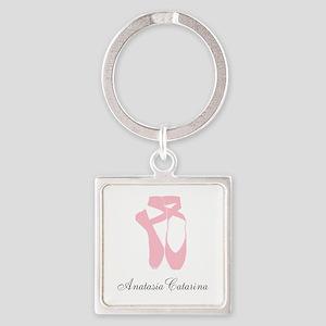 Team Pointe Ballet Pink Personaliz Square Keychain