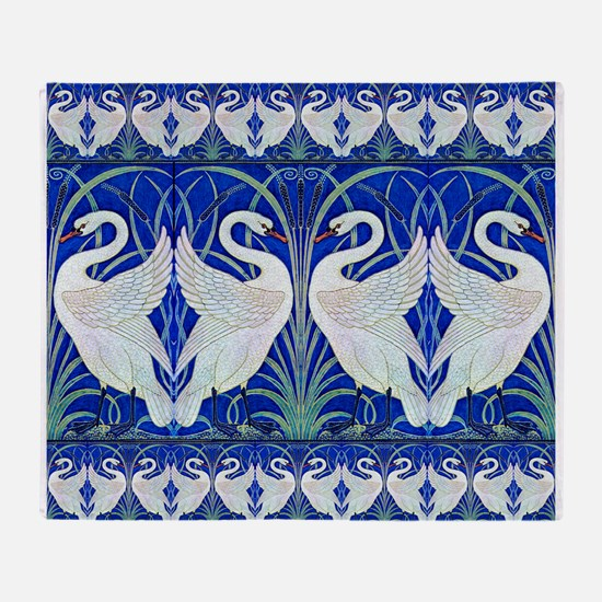The Swans By Walter Crane Throw Blanket