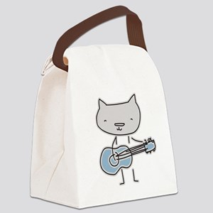 Guitar Cat Canvas Lunch Bag