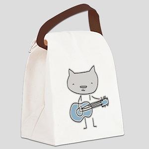 Guitar Cat Canvas Lunch Bag