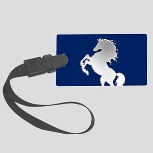 Silver Horse on Royal Blue Large Luggage Tag