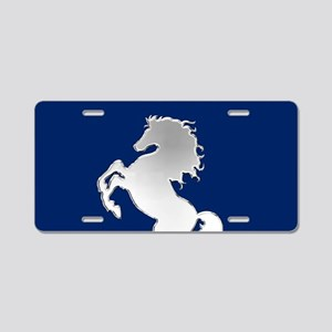 Silver Horse on Royal Blue Aluminum License Plate