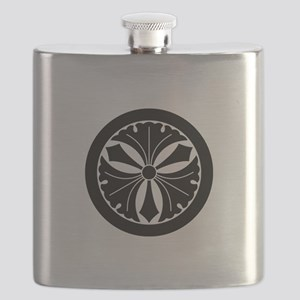 Three ginkgo leaves with swords in circle Flask
