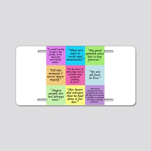 Pride and Prejudice Quotes Aluminum License Plate