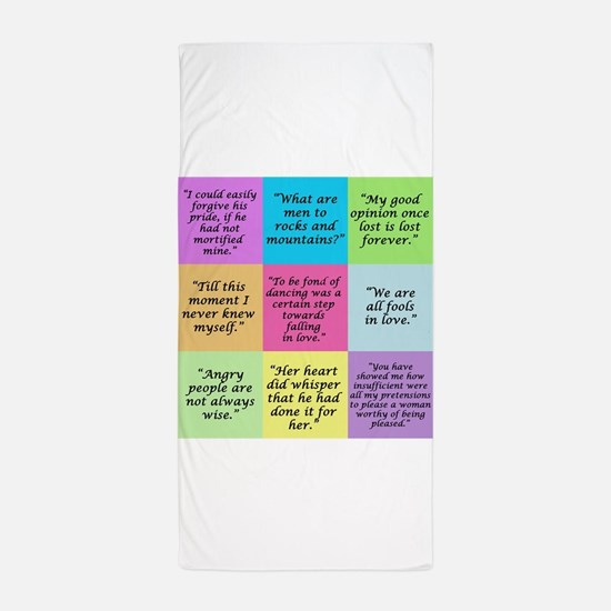 Pride and Prejudice Quotes Beach Towel