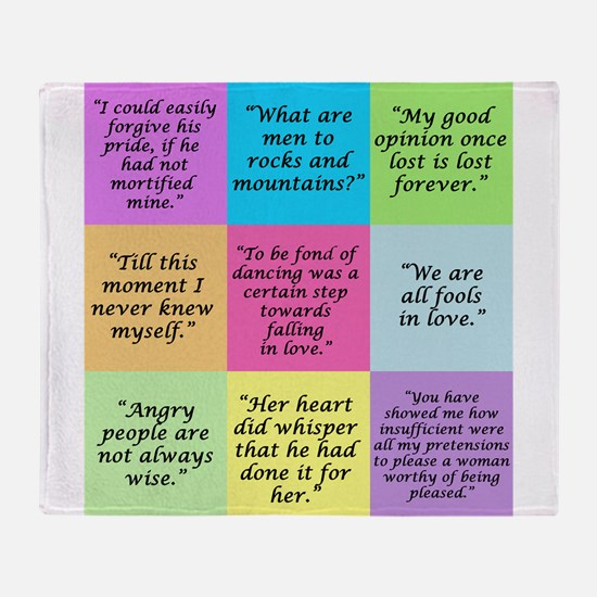 Pride and Prejudice Quotes Throw Blanket