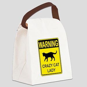 Crazy Cat Canvas Lunch Bag