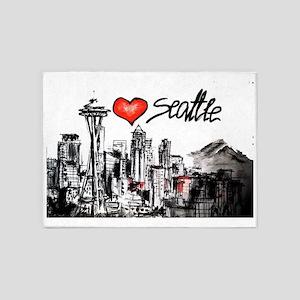 I love Seattle 5'x7'Area Rug