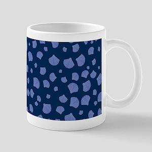Blue Seashells on Dark Blue Background Mug