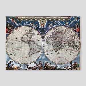 Antique old world map 1664 Restored 5'x7'Area Rug