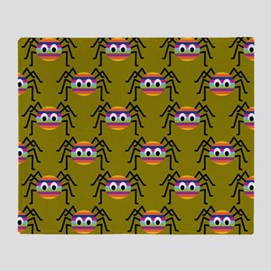 Cute Colorful Spiders Throw Blanket