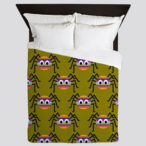 Cute Colorful Spiders Queen Duvet