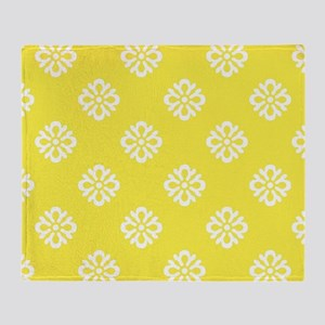 White and Yellow Damask Throw Blanket