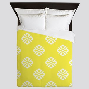 White and Yellow Damask Queen Duvet
