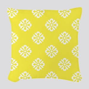 White and Yellow Damask Woven Throw Pillow