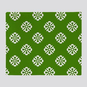 White and Green Damask Throw Blanket