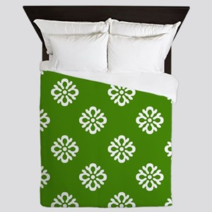 White and Green Damask Queen Duvet