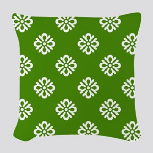 White and Green Damask Woven Throw Pillow