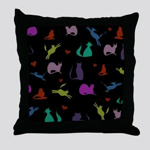 Rainbow Cats on Black Throw Pillow