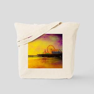 Yellow Santa Monica Pier Tote Bag