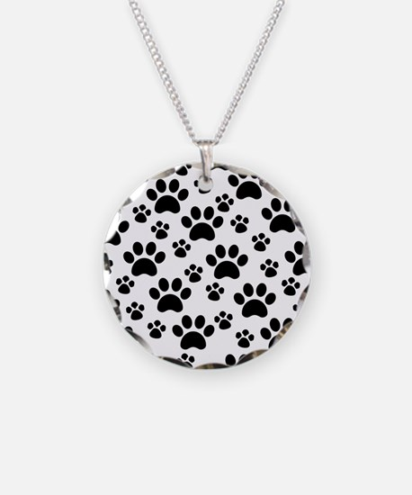 Dog Paws Necklace Circle Charm