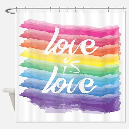 Love is Love Watercolor Rainbow Ga Shower Curtain