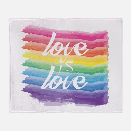 Love is Love Watercolor Rainbow Gay Throw Blanket