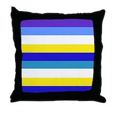 Blue, yellow and white stripes Throw Pillow