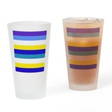 Blue, yellow and white stripes Drinking Glass