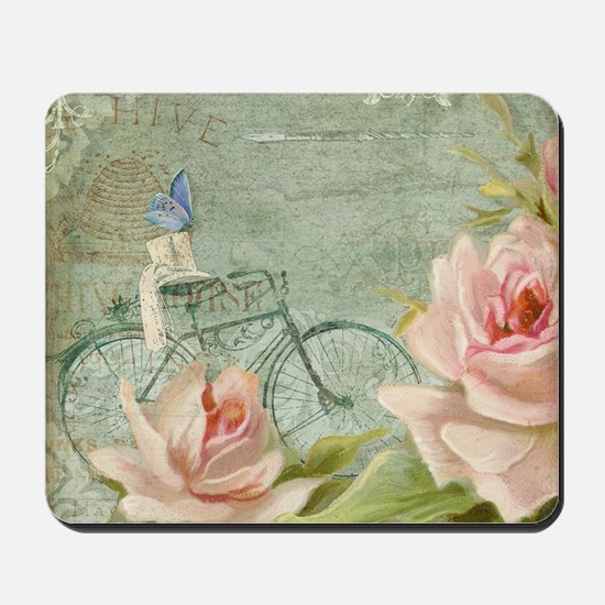 Cape May Porch Bicycle n Roses w Bee Hiv Mousepad