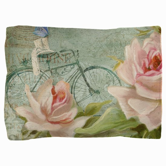 Cape May Porch Bicycle n Roses w Bee H Pillow Sham