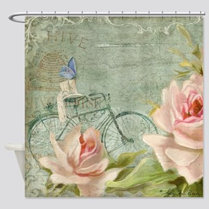 Cape May Porch Bicycle n Roses w Be Shower Curtain