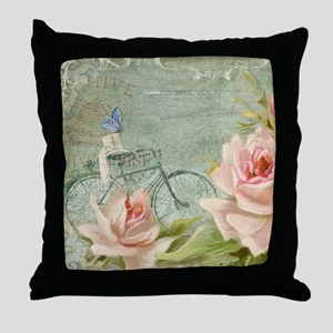 Cape May Porch Bicycle n Roses w Bee Throw Pillow