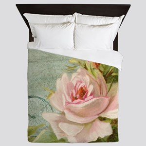 Cape May Porch Bicycle n Roses w Bee H Queen Duvet