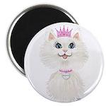 White Cartoon Cat Princess Magnet