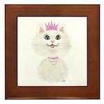 White Cartoon Cat Princess Framed Tile