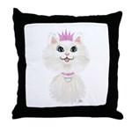 White Cartoon Cat Princess Throw Pillow