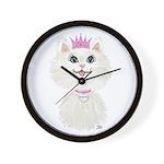 White Cartoon Cat Princess Wall Clock